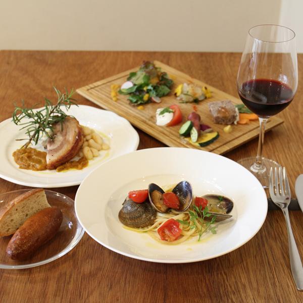 所沢市の新所沢のイタリアンのワインと食事のペアリングのレストランのパスタとメインと前菜のランチの画像